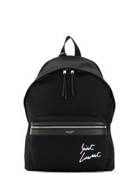 schwarzer Segeltuch Rucksack von Saint Laurent