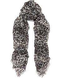 schwarzer Seideschal mit Leopardenmuster von Saint Laurent