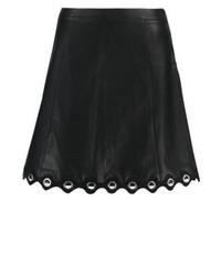 schwarzer Skaterrock aus Leder von Aaiko