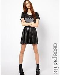 schwarzer Skaterrock aus Leder von Asos Petite