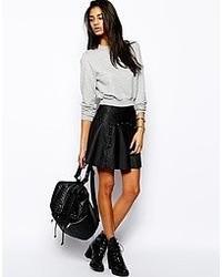 schwarzer Skaterrock aus Leder von Glamorous