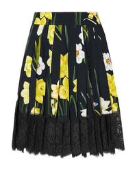 schwarzer Skaterrock mit Blumenmuster von Dolce & Gabbana