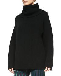 schwarzer Strick Oversize Pullover