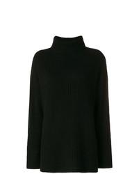 schwarzer Strick Oversize Pullover von Le Kasha