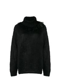 schwarzer Strick Oversize Pullover von Miu Miu