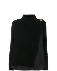 schwarzer Strick Oversize Pullover von Sacai