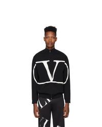 schwarzer Strick Pullover mit einem Reißverschluß von Valentino