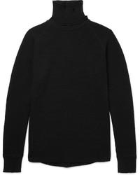 schwarzer Strick Wollrollkragenpullover