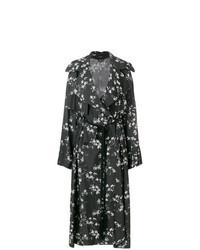 schwarzer Trenchcoat mit Blumenmuster von Ann Demeulemeester