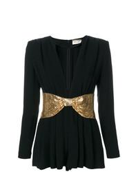 schwarzer und goldener kurzer Jumpsuit von Saint Laurent