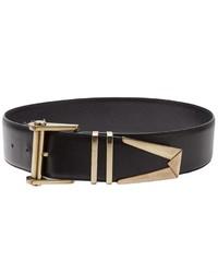 schwarzer und goldener Leder Taillengürtel von Versace