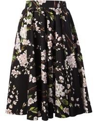 schwarzer und weißer ausgestellter Rock mit Blumenmuster von Dolce & Gabbana