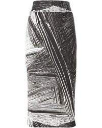 schwarzer und weißer bedruckter Bleistiftrock von Helmut Lang