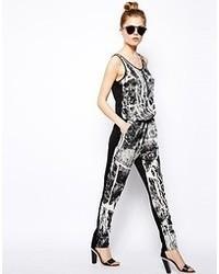 schwarzer und weißer bedruckter Jumpsuit von Vila