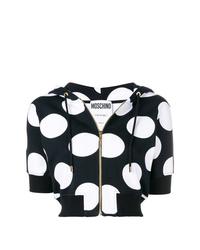 schwarzer und weißer bedruckter Kurzarmpullover mit einem Kapuze von Moschino
