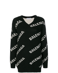 schwarzer und weißer bedruckter Oversize Pullover von Balenciaga