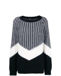 schwarzer und weißer bedruckter Oversize Pullover von Barbara Bui
