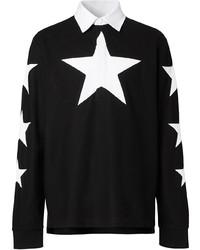 schwarzer und weißer bedruckter Polo Pullover von Burberry