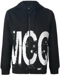 schwarzer und weißer bedruckter Pullover mit einem Kapuze