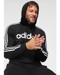 schwarzer und weißer bedruckter Pullover mit einem Kapuze von adidas