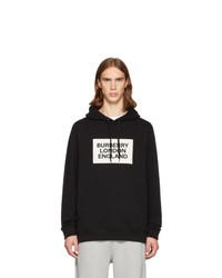 schwarzer und weißer bedruckter Pullover mit einem Kapuze von Burberry