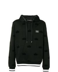 schwarzer und weißer bedruckter Pullover mit einem Kapuze von Dolce & Gabbana