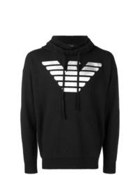 schwarzer und weißer bedruckter Pullover mit einem Kapuze von Emporio Armani