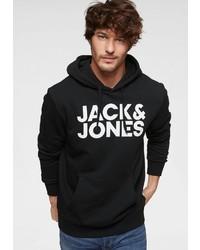 schwarzer und weißer bedruckter Pullover mit einem Kapuze von Jack & Jones