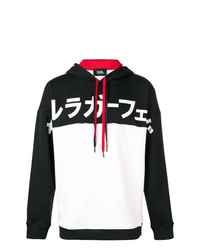 schwarzer und weißer bedruckter Pullover mit einem Kapuze von Karl Lagerfeld
