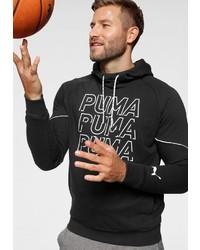 schwarzer und weißer bedruckter Pullover mit einem Kapuze von Puma