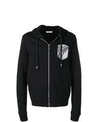 schwarzer und weißer bedruckter Pullover mit einem Kapuze von Versace Collection
