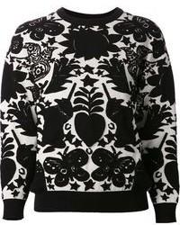 schwarzer und weißer bedruckter Pullover mit einem Rundhalsausschnitt
