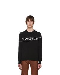 schwarzer und weißer bedruckter Pullover mit einem Rundhalsausschnitt von Givenchy