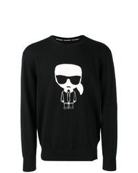 schwarzer und weißer bedruckter Pullover mit einem Rundhalsausschnitt von Karl Lagerfeld