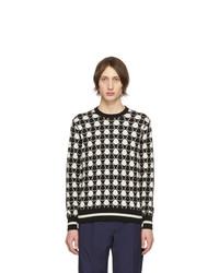schwarzer und weißer bedruckter Pullover mit einem Rundhalsausschnitt von Moncler