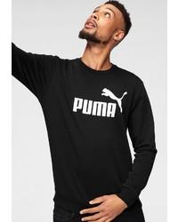 schwarzer und weißer bedruckter Pullover mit einem Rundhalsausschnitt von Puma