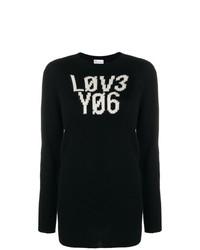schwarzer und weißer bedruckter Pullover mit einem Rundhalsausschnitt von RED Valentino