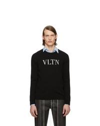 schwarzer und weißer bedruckter Pullover mit einem Rundhalsausschnitt von Valentino