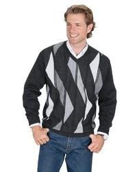 schwarzer und weißer bedruckter Pullover mit einem V-Ausschnitt von Classic