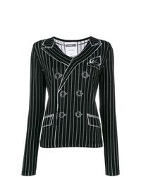 schwarzer und weißer bedruckter Pullover mit einem V-Ausschnitt von Moschino