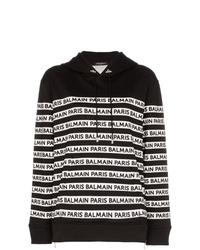 schwarzer und weißer bedruckter Pullover mit einer Kapuze von Balmain