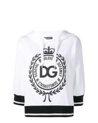 schwarzer und weißer bedruckter Pullover mit einer Kapuze von Dolce & Gabbana