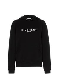 schwarzer und weißer bedruckter Pullover mit einer Kapuze von Givenchy