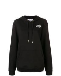 schwarzer und weißer bedruckter Pullover mit einer Kapuze von Moschino