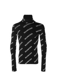 schwarzer und weißer bedruckter Rollkragenpullover von Balenciaga