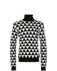 schwarzer und weißer bedruckter Rollkragenpullover von Chalayan