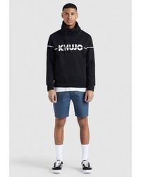 schwarzer und weißer bedruckter Rollkragenpullover von khujo