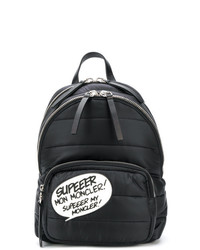 schwarzer und weißer bedruckter Rucksack von Moncler