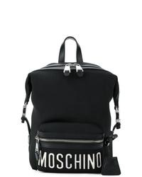 schwarzer und weißer bedruckter Rucksack von Moschino