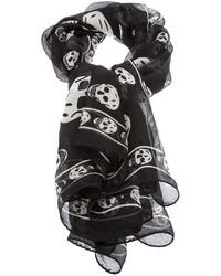 schwarzer und weißer bedruckter Schal